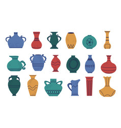 Doodle pottery cartoon abstract shapes of ancient vector