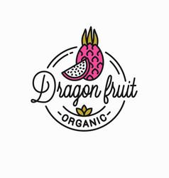 dragon fruit logo round linear dragon slice vector image