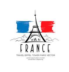eiffel tower flag france sketching vector image
