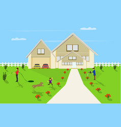 family are happy in front yard with white fence vector image