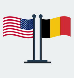 Flag of united states and belgium flag stand vector