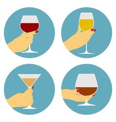Flat wine icons vector