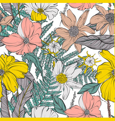 garden flower bloom seamless pattern contrast vector image