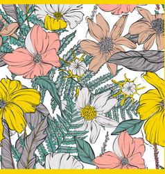 Garden flower bloom seamless pattern contrast vector