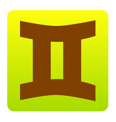 gemini sign brown icon at green-yellow vector image