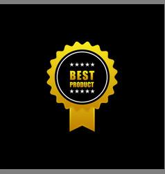 Golden badge on black background vector
