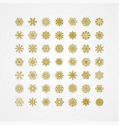 golden snowflakes icon on white background vector image