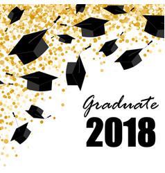 graduate caps on the gold confetti background vector image