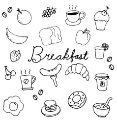 hand drawing breakfast doodle design vector image