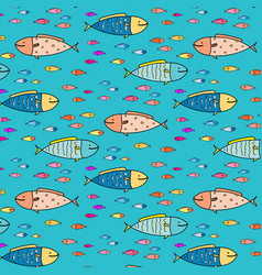 hand drawn abstract fish pattern background vector image
