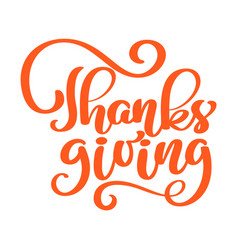 Hand drawn red thanksgiving text typography poster vector