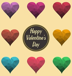 Happy Valentine Day Sign Abstract polygonal hearts vector image