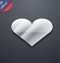 Heart Love icon symbol 3D style Trendy modern vector image