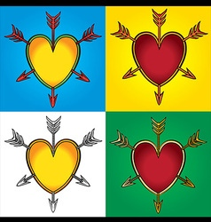 heart shape symbol emblem arrows graphic vector image
