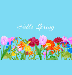 hello spring floral pink background with flowers vector image