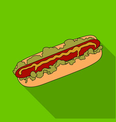 hot dog single icon in flat stylehot dog vector image