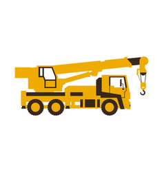 Icon truck crane construction machinery vector