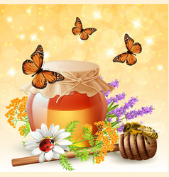insects with honey realistic vector image