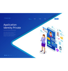 Isometric personal data information app identity vector