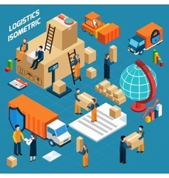 Isometric Warehouse Logistics Concept vector image