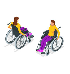Isometric woman in a wheelchair using a ramp vector