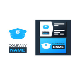 Logotype police cap with cockade icon isolated on vector