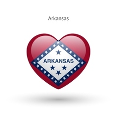 Love Arkansas state symbol Heart flag icon vector image