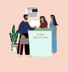 Man talking with women receptionists at clinic vector