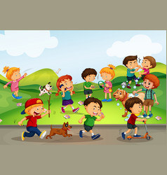 Many kids playing in the field vector