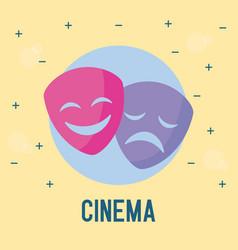 Masks happy and sad of theatre vector