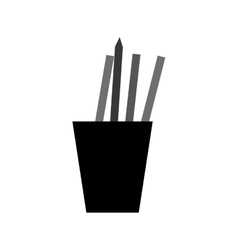 Monochromatic cup pencils pens utensils working vector