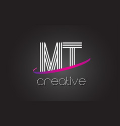Mt m t letter logo with lines design and purple vector