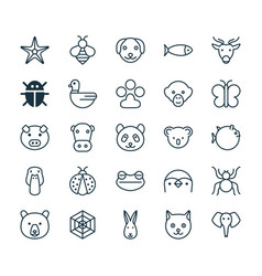 Nature icons set collection of bear moth claw vector