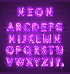Neon banner text neon font city color purple vector