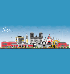 Nice france city skyline with color buildings and vector