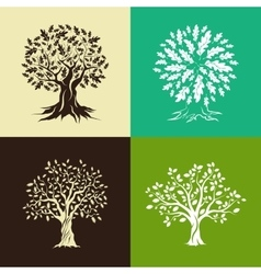 Oak trees silhouette set vector