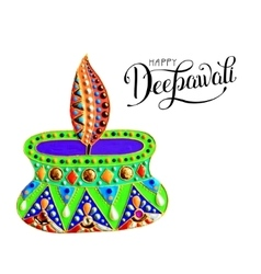 Original greeting card to deepavali festival with vector