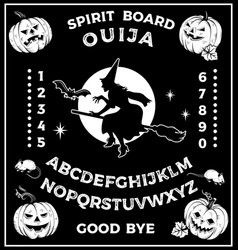 ouija board with witch on broomstick occultism vector image
