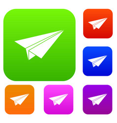 paper airplane set color collection vector image