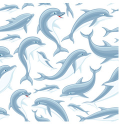 Pattern with cute dolphins vector