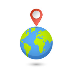 Planet and map pins icon earth and colorful map vector