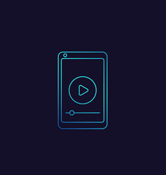 play video in smartphone screen linear icon vector image