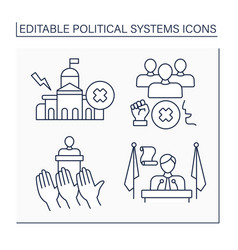 Political systems line icons set vector
