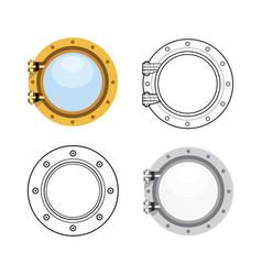 porthole in flat style set vector image