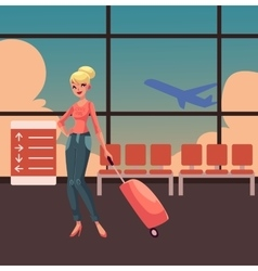 Pretty blond woman in jeans and heels travelling vector image