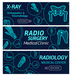Radiology medical center x-ray banners vector