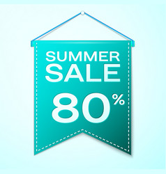 Realistic green pennant with summer sale eighty vector