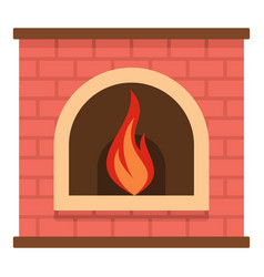 retro fireplace icon cartoon style vector image