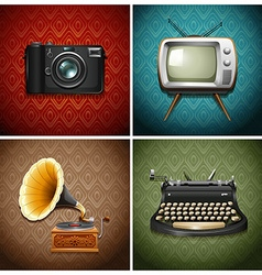 Retro media and audio devices vector