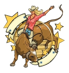 Rodeo cowgirl riding a bull label design vector